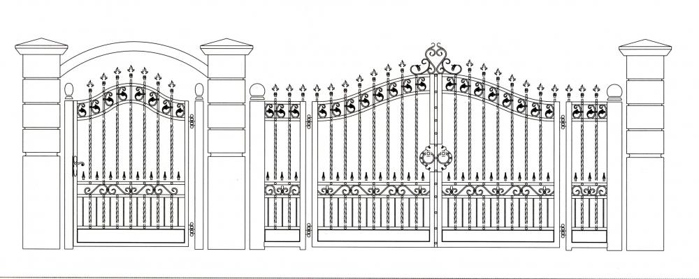 Portail en fer forg h l ne portail en fer forg style for Dessin portail fer forge