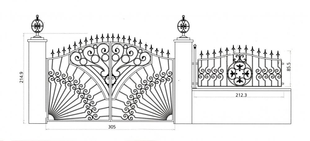 Portail en fer forg livourne portail en fer forg for Dessin de portail en fer forge