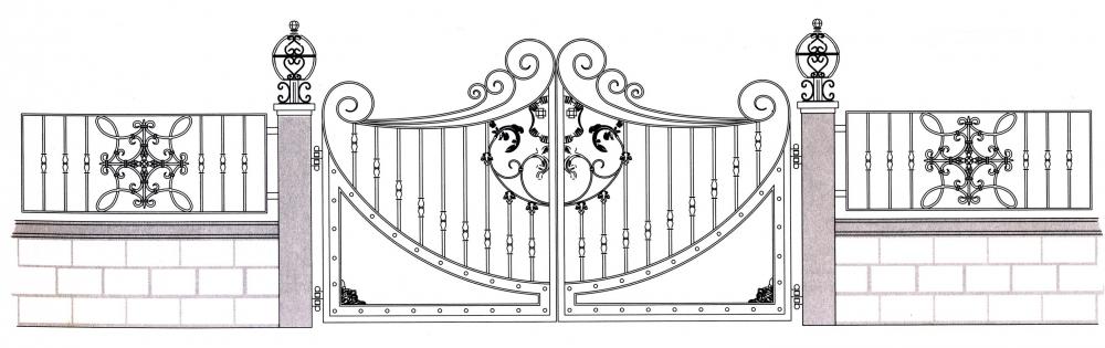 Portail en fer forg clarysse portail en fer forg for Dessin portail fer forge