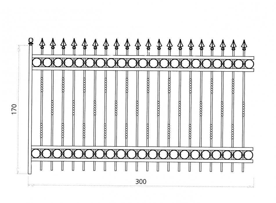 grille en fer forg justine grille de cl ture en fer forg style classique le grand. Black Bedroom Furniture Sets. Home Design Ideas