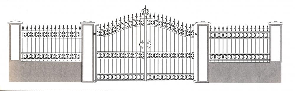 Portail bourgogne portail en fer forg style classique for Dessin portail fer forge