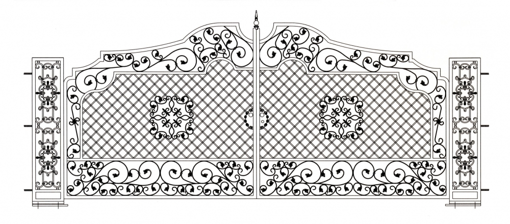 Portail en fer forg pomp i portail en fer forg style for Dessin portail fer forge