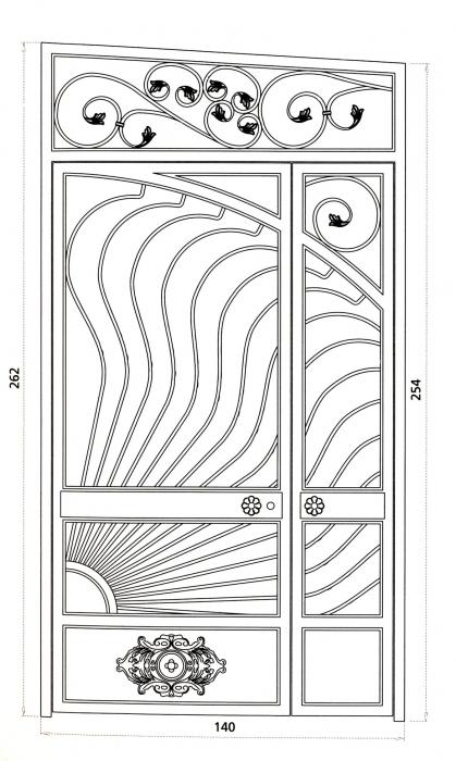Porte en fer forg soleil levant porte en fer forg for Porte fer forge 2016