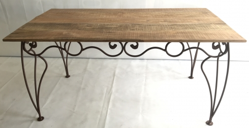 Table fer forgé et bois manguier 160x80 marron