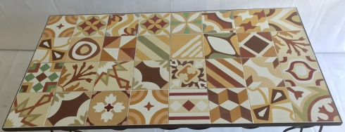 Plateau carreau de ciment patchwork 160x80 marron