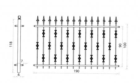 grille en fer forg elena grille de cl ture en fer forg style classique le grand. Black Bedroom Furniture Sets. Home Design Ideas